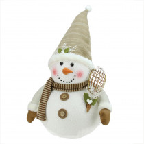 20 in. Snowman with Snow Shoes and Mistletoe Christmas Decoration