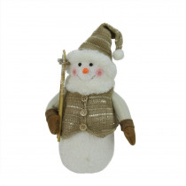 10 in. Alpine Chic Brown and Beige Snowman with Ski Poles and Mistletoe Christmas Decoration