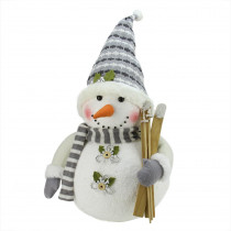 20 in. Alpine Chic Snowman with Skis and Snowflake Buttons Christmas Decoration
