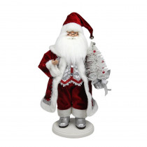 19 in. Red, White and Silver Santa Claus with Christmas Tree Tabletop Decoration