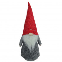 11 in. Christmas Morning Plush Red and Gray Christmas Gnome Tabletop Figure