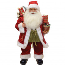 24 in. Modern Standing Santa Claus Christmas Figure with Presents and Drum