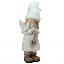19.75 in. Decorative White Winter Girl Angel with Star Christmas Table Top Figure