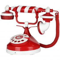 6.50 in. Santa's Christmas Candy Stripe Telephone
