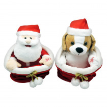 9 in. Christmas Animated Santa/Puppy in Sack
