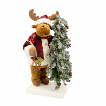 22 in. Christmas Animated Musical Reindeer with Head and Hand Movement and LED Lighted Tree