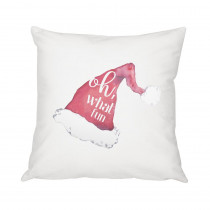 16 in. Christmas Throw Pillow with Santa Hat Design