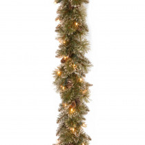 6 ft. Glittery Bristle Pine Garland with Battery Operated Warm White LED Lights