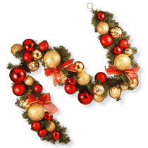 6 ft. Red and Green Ornament Garland