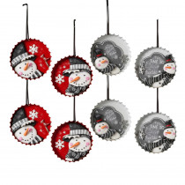 3.3 in. Bottle Cap Snowman Ornaments with 4 Assorted Styles (Pack of 8)