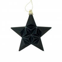 5 in. Matte Jet Black Glittered Star Shatterproof Christmas Ornaments (12-Count)