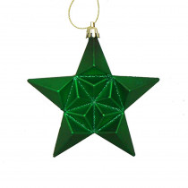 5 in. Matte Xmas Green Glittered Star Shatterproof Christmas Ornaments (12-Count)
