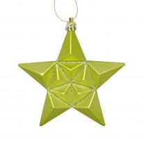 5 in. Matte Green Kiwi Glittered Star Shatterproof Christmas Ornaments (12-Count)