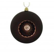 4 in. Shatterproof Matte Brown Retro Reflector Christmas Ball Ornaments (6-Count)