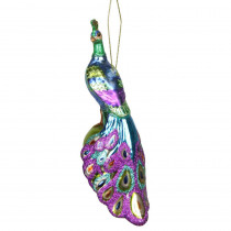7 in. Blue, Green and Purple Regal Peacock Glass Christmas Ornament