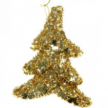 130 mm Christmas Glitter Tree Ornament with Hanger in Gold (10-Set)