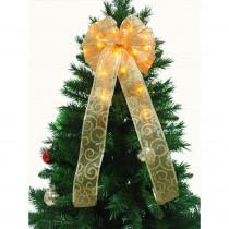 9 in. 36-Light LED Gold Ribbon Bow