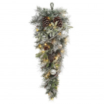 36 in. Battery Operated Snowy Silver Pine Artificial Teardrop with 36 Clear LED Lights