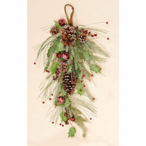 28 in. Icy Teardrop with Berries Pinecones and Bells