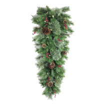 36 in. Battery Operated Syracuse Cashmere Berry Artificial Teardrop with 35 Clear LED Lights
