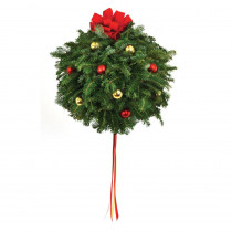14 in. Live Fraser Fir Kissing Christmas Ball with Red and Gold Ornaments and Bow