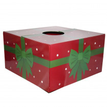 6 in. Dia Red with Green Ribbon Original Christmas Tree Skirt Box