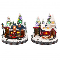 8 in. H Assorted Battery Operated Musical Scenes (Set of 2)
