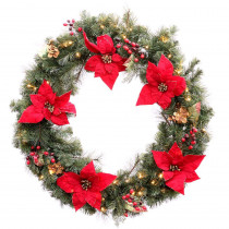 36 in. Battery Operated Red Poinsettia Artificial Wreath with 60 Clear LED Lights