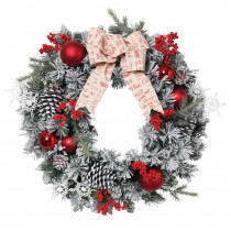 24 in. Dia Flocked Pine Wreath