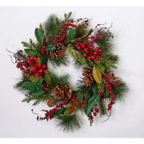 22 in. Water Proof Mixed Green Berry Wreath