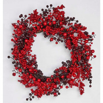 19 in. Red and Burgundy Berry Wreath On Natural Twig Base