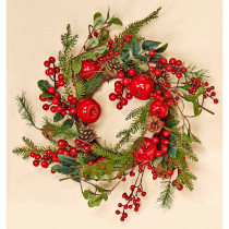 20 in. Weatherproof Berry and Apple Wreath