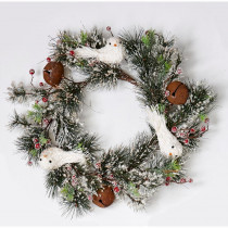 22 in. Iced Pine Needle Wreath with Dove Bell and Berries
