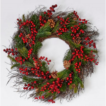 25 in. Mixed Pine Berry Cone Wreath