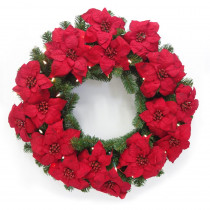 32 in. Pre-Lit LED Artificial Christmas Poinsettia Wreath with Warm White 50-Lights
