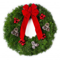 26 in. Live Balsam Fir Christmas Wreath with Red Bow Red Ornaments and Frosted Pinecones