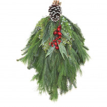 Cottage Farms Direct 16 in. Fresh Mixed Christmas Frost Evergreen Swag