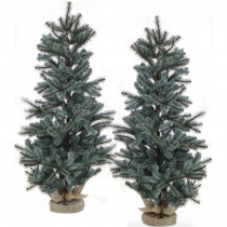 Fraser Hill Farm 4.8 ft. Heritage Pine Artificial Trees with Burlap Bases (Set of 2)
