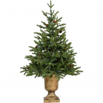 Fraser Hill Farm 3.6 ft. Noble Fir Artificial Tree with Metallic Urn Base