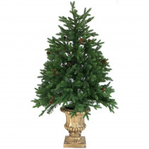 Fraser Hill Farm 4.8 ft. Noble Fir Artificial Tree with Metallic Urn Base