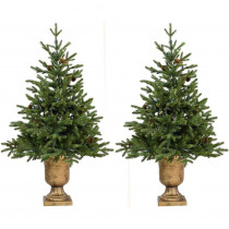 Fraser Hill Farm 4.8 ft. Noble Fir Artificial Trees with Metallic Urn Bases (Set of 2)