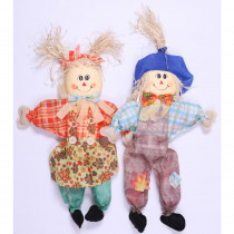 Gardenised 24 in. Sitting Scarecrow Sister and Brother Set with Blue Hat