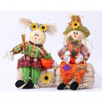 Gardenised Scarecrow Boy and Girl Set Sitting on a Hay Bale