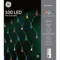 GE Color Effects RF Controlled Light Show- 100-Light 8 mm Faceted String Set