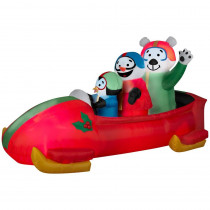 Gemmy 83.86 in. W x 37.01 in. D x 42.91 in. H Animated Inflatable Bobsled Team Penguin, Snowman and Teddy Bear
