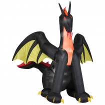 Gemmy 83.86 in. W x 72.84 in. D x 72.05 in. H Animated Inflatable Fire Dragon with Wings
