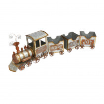 Gerson 56.5inL Metal Galvanized Christmas Train Set with 3 Cars