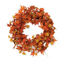 Gerson 24 in. D Harvest Orange and Yellow Maple Leaf Wreath