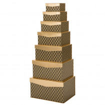 Glitzhome 6.46 in.Nested Box Rectangle Grid Pattern Gift box (Set of 7)
