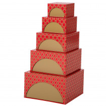 Glitzhome 4.88 in. Nesting Box Tower Red (Set of 5)